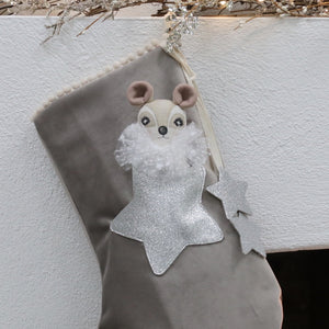 Cloud Grey Velvet Christmas Stocking with Doll in Pocket