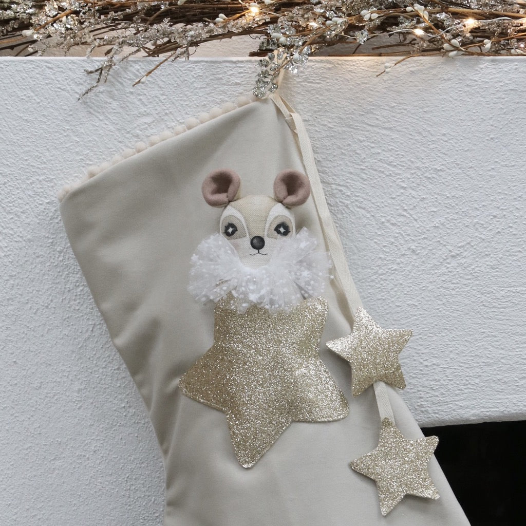 Alabaster Velvet Christmas Stocking With Doll In Pocket Thicket Thimble