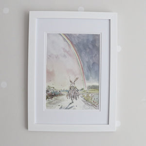 Hebe Hare Rainbow Watercolour Print