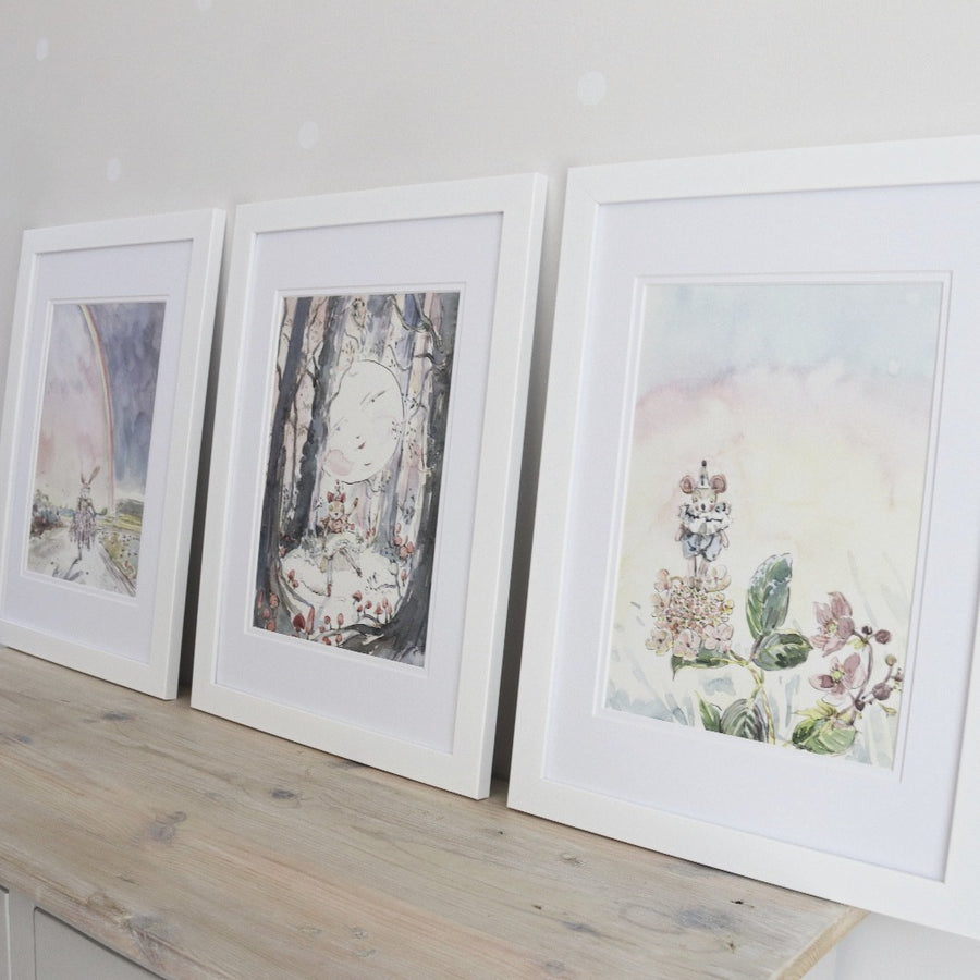 Set of Three Doll Watercolour Prints