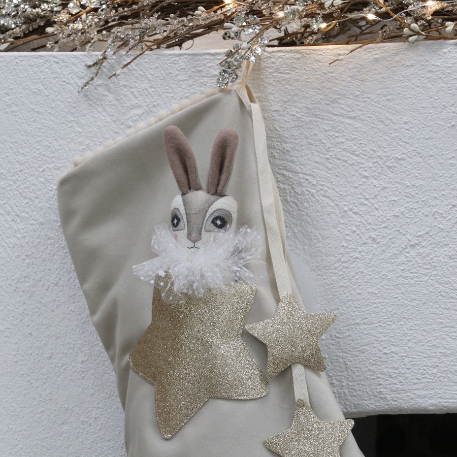 Alabaster Velvet Christmas Stocking with Doll in Pocket