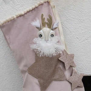 Blush Velvet Christmas Stocking with Doll in Pocket