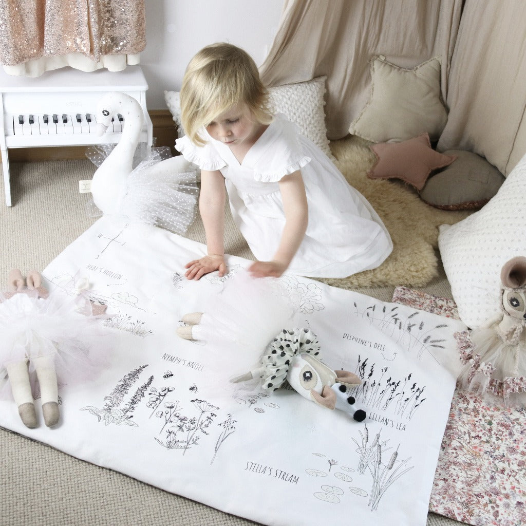 Keepsake Woodland Playmat 'Pink Wild Flowers' Liberty Print