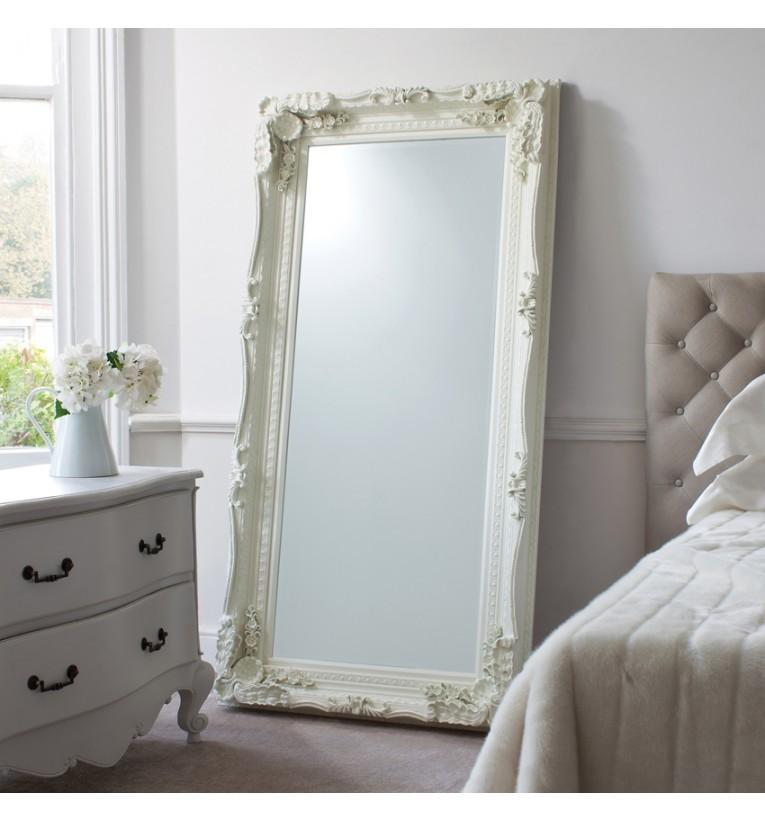 Carved Large Leaner Mirror White