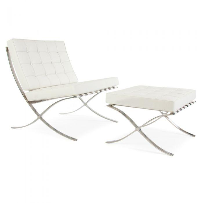 CHAIRS - Barcelona Chair & Stool White