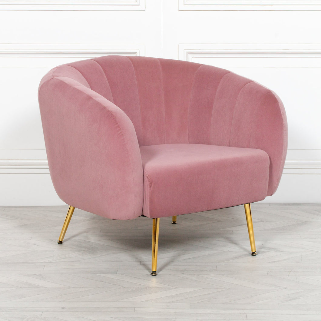 CHAIRS - Boeslunde Velvet Arm Chair Pink