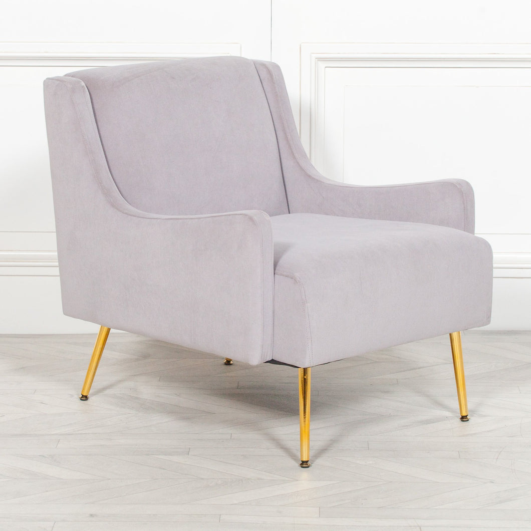 CHAIRS - Brundby Velvet Sofa Chair Grey