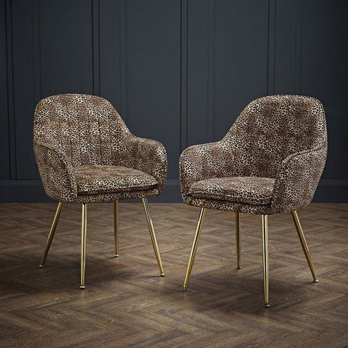 CHAIRS - Deco Velvet Chairs Leopard (x2)