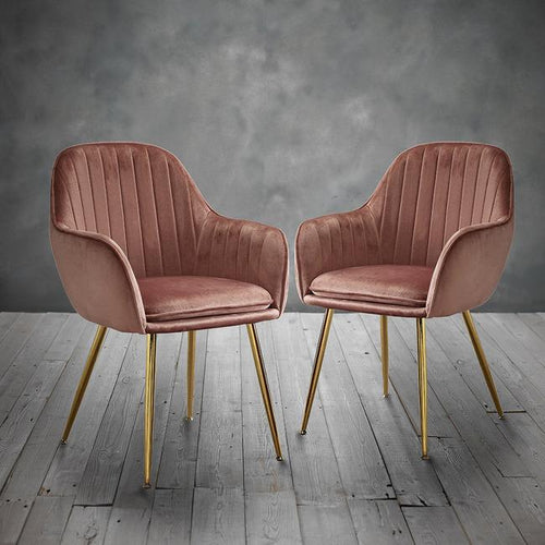 CHAIRS - Deco Velvet Chairs Pink (x2)