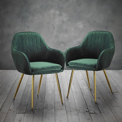 CHAIRS - Deco Velvet Chairs Racing Green (x2)