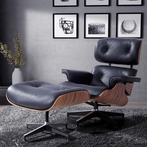 CHAIRS - Eames Lounge Chair & Stool Black
