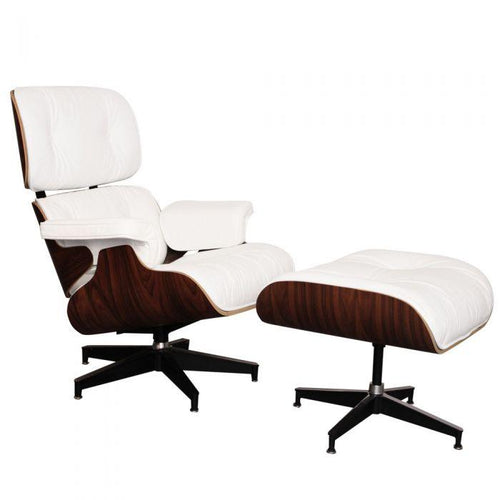 CHAIRS - Eames Lounge Chair & Stool White