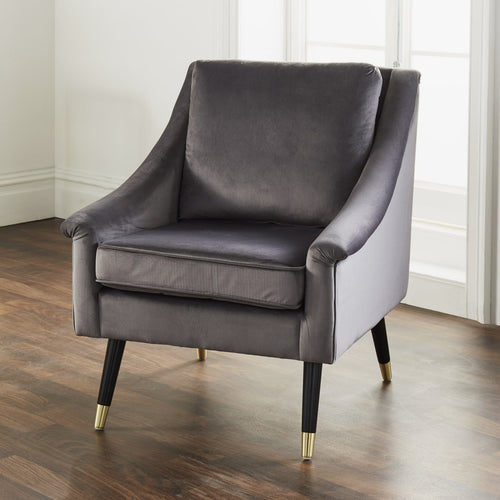 CHAIRS - Hune Velvet Armchair Grey