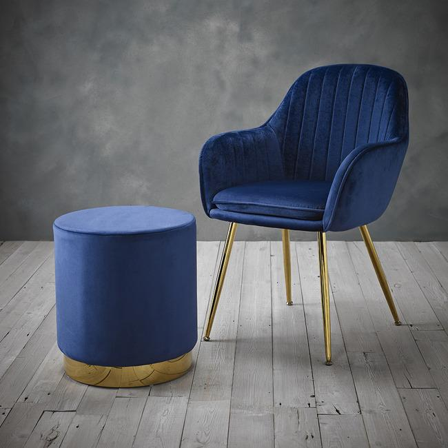 CHAIRS - Moss Velvet Pouffe Midnight Blue
