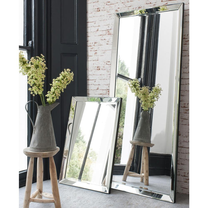 Edged Leaner Mirror Silver
