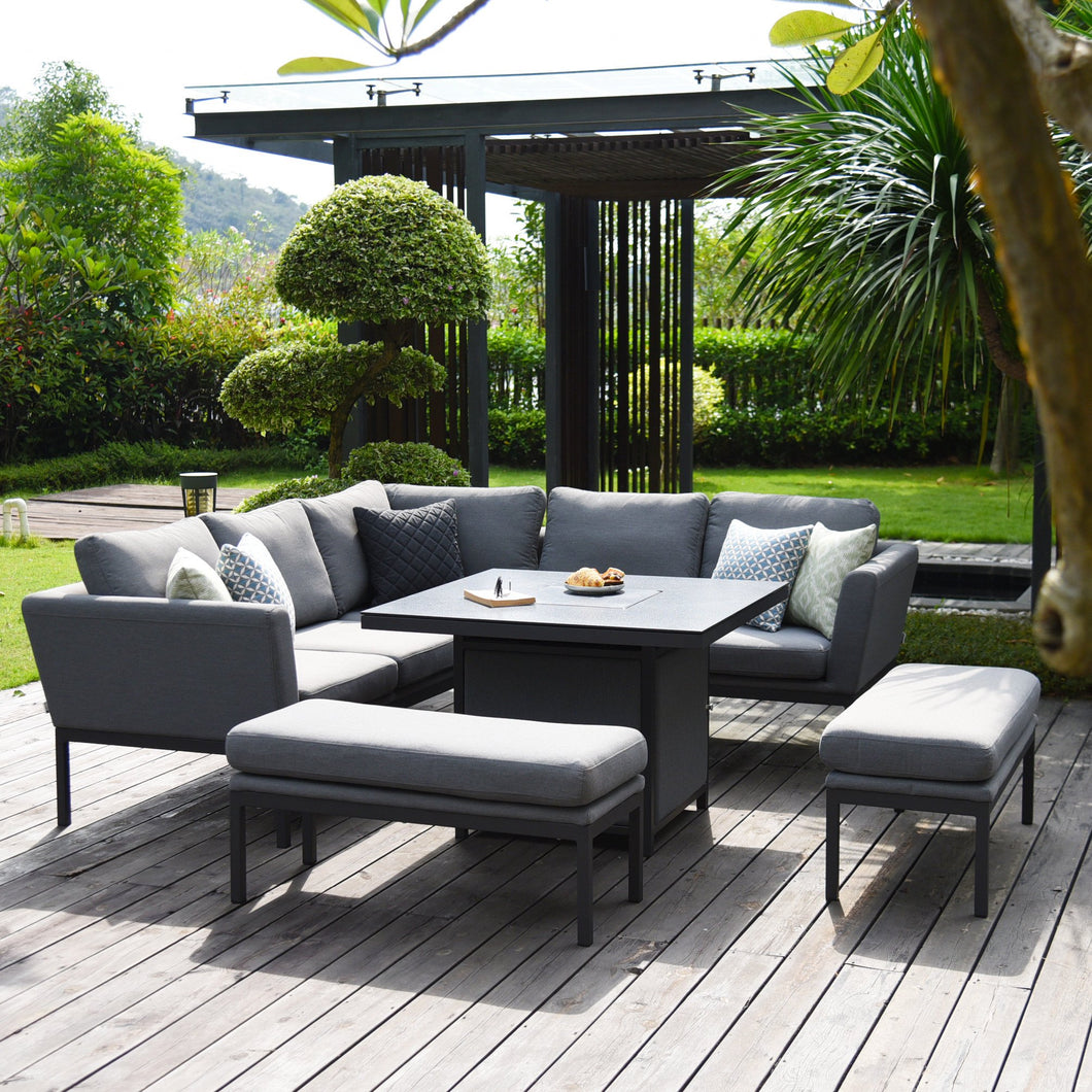 OUTDOOR - Perran Corner Dining Set With Fire Pit
