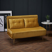 Load image into Gallery viewer, SOFAS - Dalby Velvet Sofa Bed Mustard