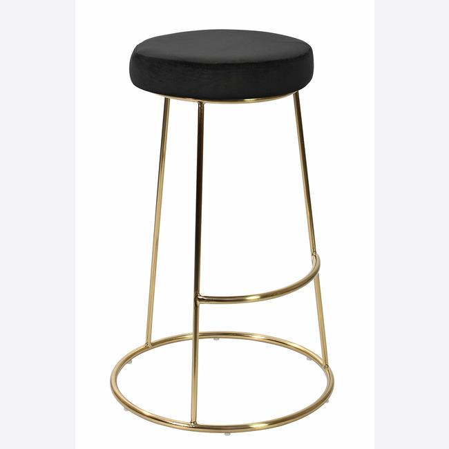 STOOLS - Cocktail Velvet Bar Stools Black (x2)