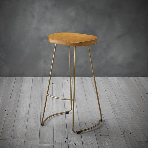 STOOLS - Pine Wooden Bar Stool Gold