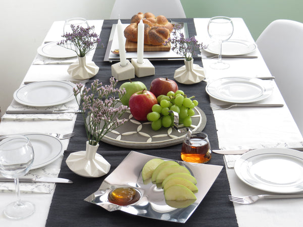 Rosh Hashana Table decoration with contemporary Judaica from Israeli artists