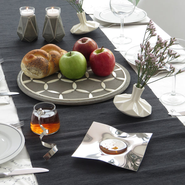 Rosh HaShana Table setting - stylish with Israeli modern Judaica design