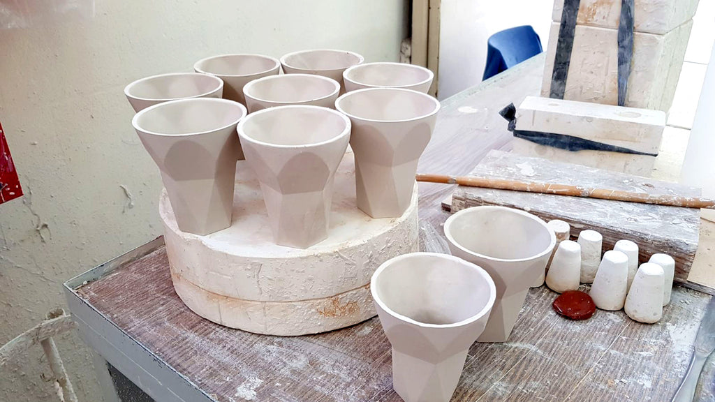 Havdalah cups - in process - at the ceramic workshop