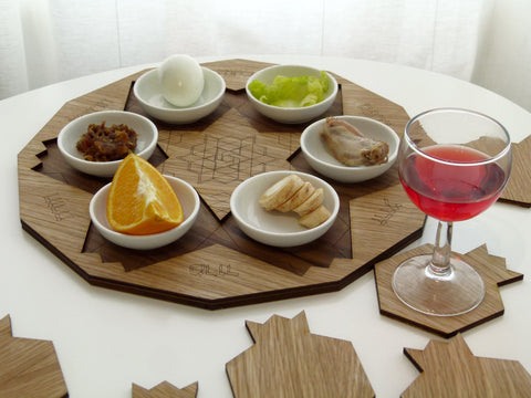 Seder plate and coasters for wine goblets