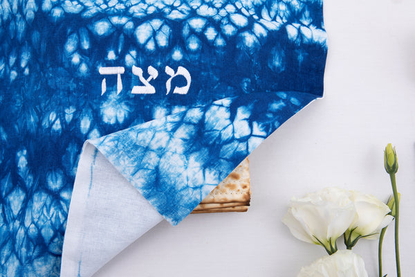 modern matzah cover - indigo blue on off white linen - hand made in israel