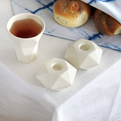 modern geometric Shabbat set in white ceramic