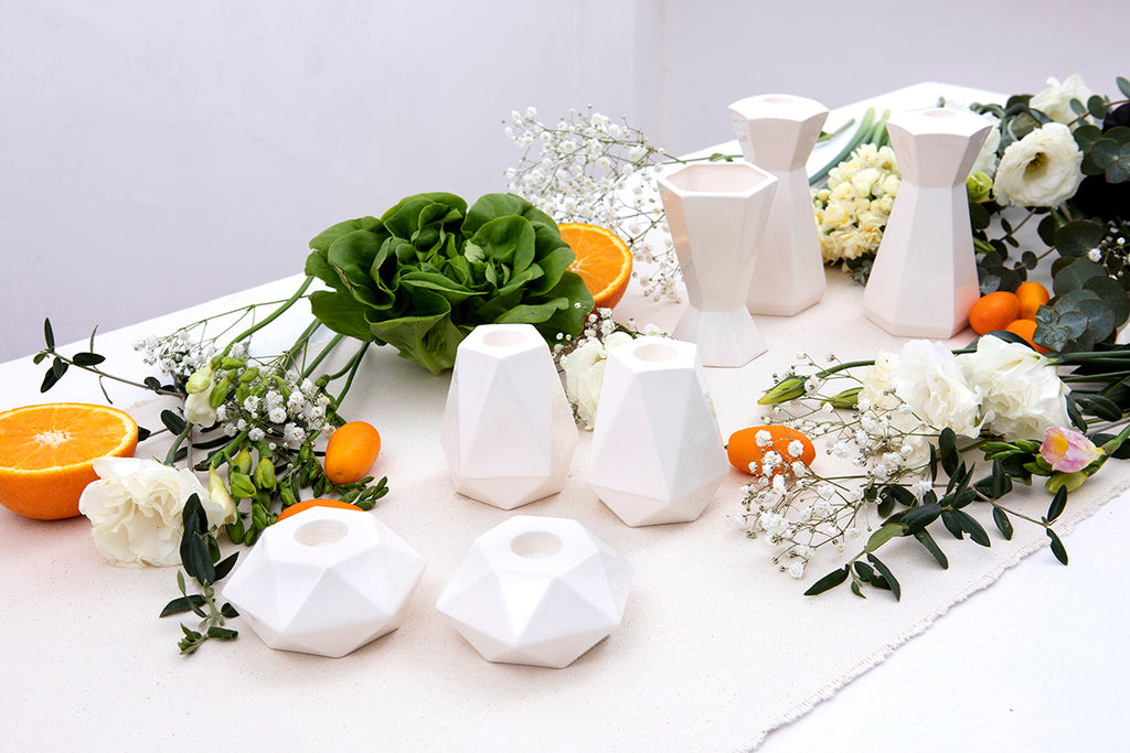 Modern Holiday table - minimalist and white, special for Shavuot