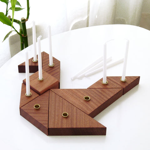 Tangram Menorah - wooden Chanukah Menorah
