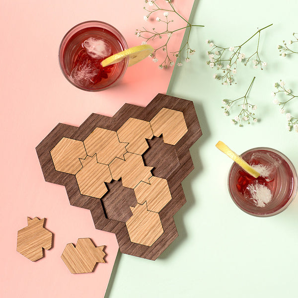 Puzzle Lovers Gift - Wooden Mind Game - Pomegranate and honeycomb shaped - 10 parts