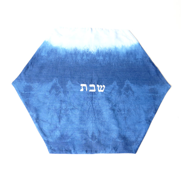 Hexagon Challah Cover, Indigo Shibori Judaica, Hand dyed. No.10