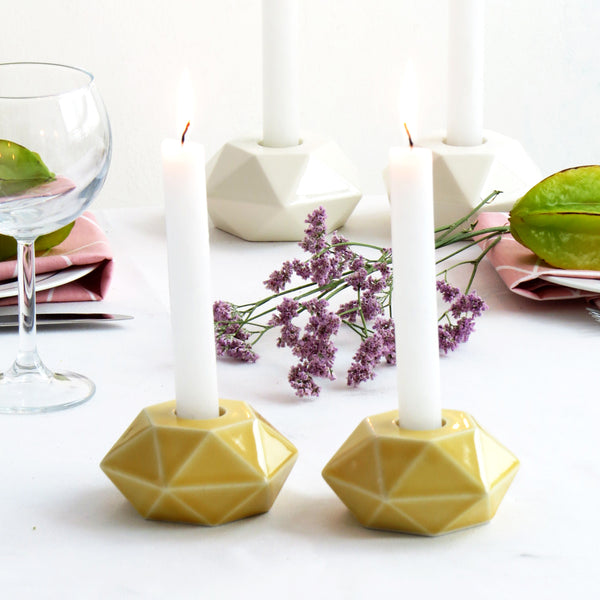 Shabbat candle holders, flat hexagon yellow ceramic