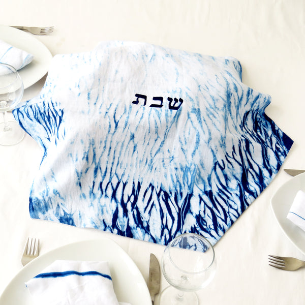Embroidered Challah cover, Indigo Shibori Judaica, Hand dyed. No.12