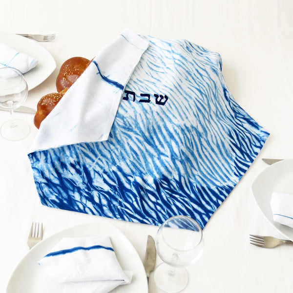 Challah bread cover for shabbat table,  Indigo Shibori Judaica, Hand dyed. No.18