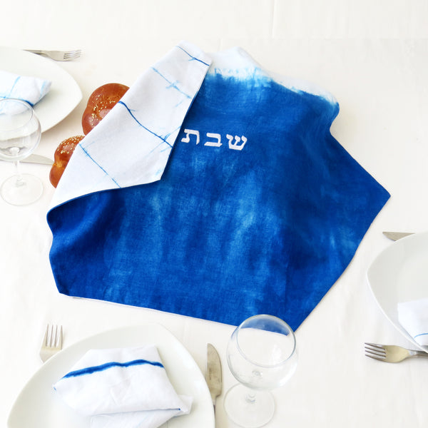 Embroidered Challah Cover with Hebrew letters, Indigo Shibori Judaica, Hand dyed. No.17