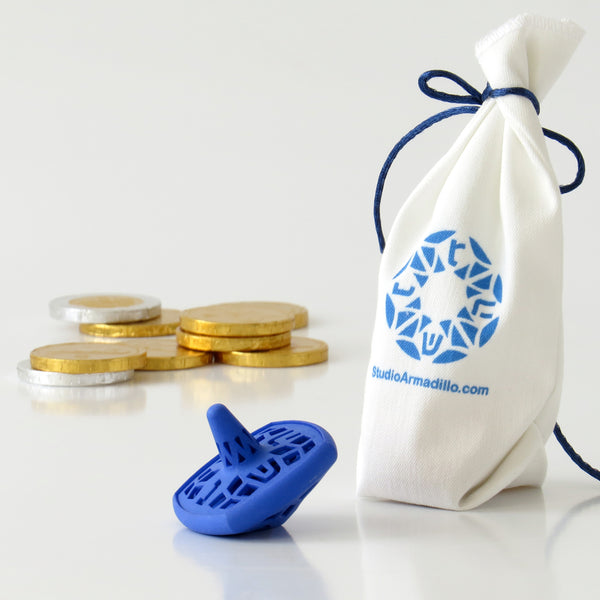 Matryoshka Dreidel - Set of 3 Nesting Spinning Tops - Blue - Wrapped in Fabric Bag