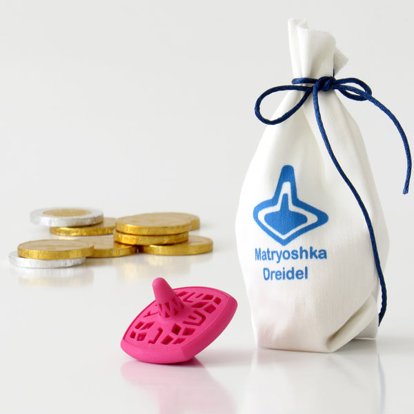 Matryoshka Dreidel - Set of 3 Nesting Spinning Tops - Pink - Wrapped in Fabric Bag