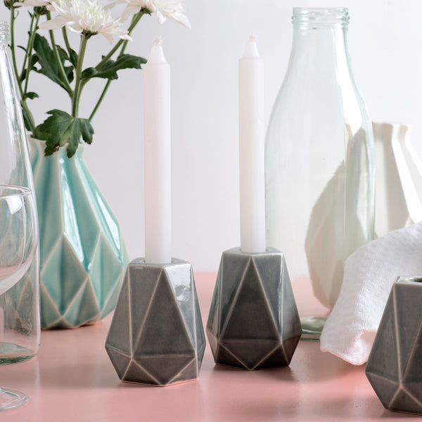 hexagon candle holders handmade of ceramic with grey glaze