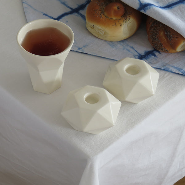 Modern Shabbat  Set, Pair of Hexagon Shabbat Candlesticks+ Kiddush Cup, Minimalist Design, Geometric Style