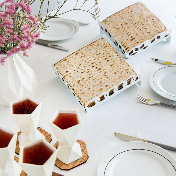 Passover unique gift - Elevated Matzah tray- white metal with rings pattern - made in Israel