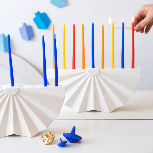 Chanukkah Menorah geometric design made of white ceramic