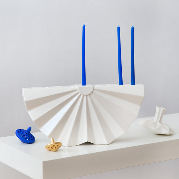 Modern Hanukkah Menorah ceramic inspired by folded paper
