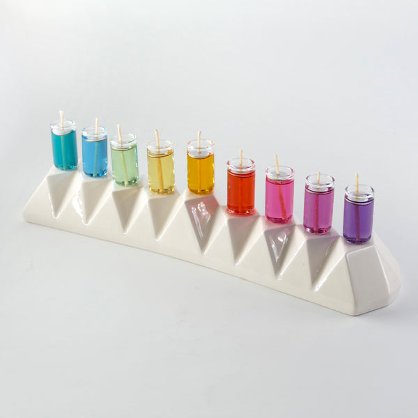 Hanukkah Oil/candles Menorah, White ceramic, Origami style