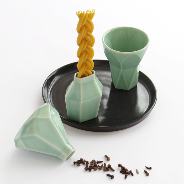 Modern Judaica Havdalah Set in light green ceramic