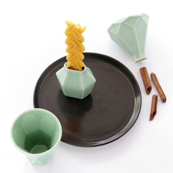 Havdalah Set - Light Green Ceramic Cup, Candleholder, Besamim Spices Holder and Black Plate