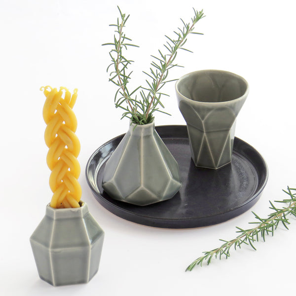 Contemporary Judaica Havdalah Set in grey ceramic