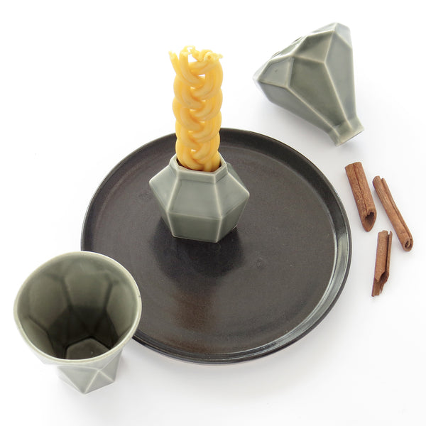 Modern Judaica Havdalah Set in grey ceramic