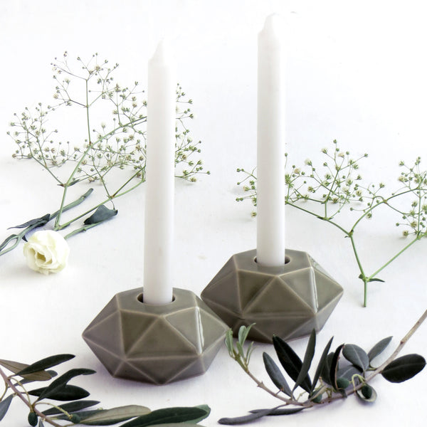 Pair of Shabbat candlesticks - Grey ceramic, hexagon shape, Modern Bat Mitzvah gift